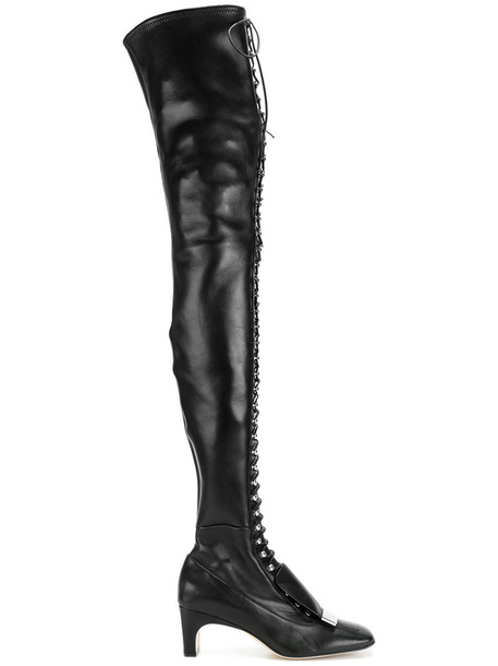 high women boots thigh high boots lace leather black shoes