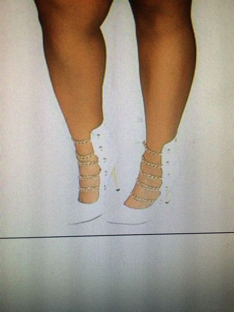 shoes white heels chain