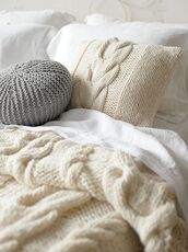 blanket,pillow,cream,cable knit,classy wishlist,holiday home decor,home accessory,sweater,knitted pillow,round pillow