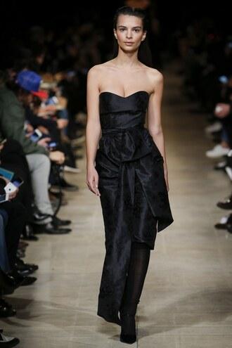 dress gown prom dress bustier dress emily ratajkowski model runway fashion week 2016 paris fashion week 2016 miu miu black dress
