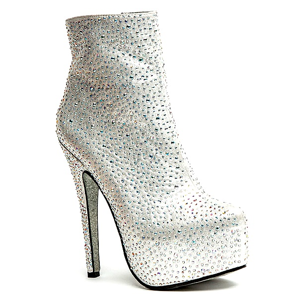 Cutesy originals – desire jeweled platform stiletto ankle boots