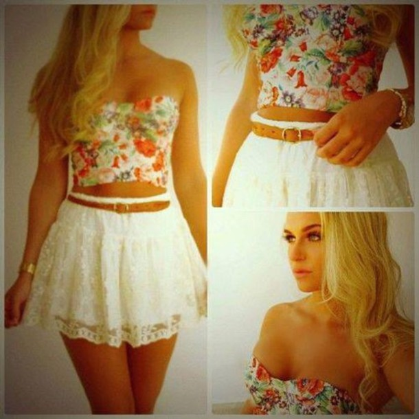 Skirt: lace, crochet, crop tops, belt, floral, summer, high ...