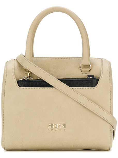 Armani Jeans - chain detail tote bag - women - Polyester/Polyurethane - One Size, Nude/Neutrals, Polyester/Polyurethane