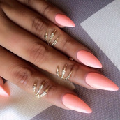 jewels,gold ring,claw ring,knuckle ring,rings and tings,ring,paws,paws rings,nail polish,nails,peach colour