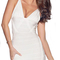 V neck asymmetric hem bandage dress white