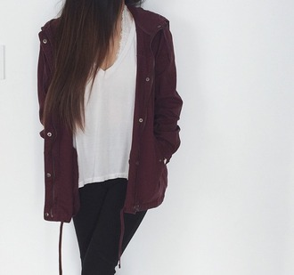 jacket burgundy fall jacket winter jacket fall outfits burgundy jacket clothes burgandy parka parka coat large coat maroon coat white vneck bralette lace bralette black skinny jeans skinny jeans casual rag freshlove on point clothing style stylish trendy blogger fashionista chill rad cute fashion inspo outfit idea teenagers maroon jacket anorak jacket fall time purple dark utility jacket