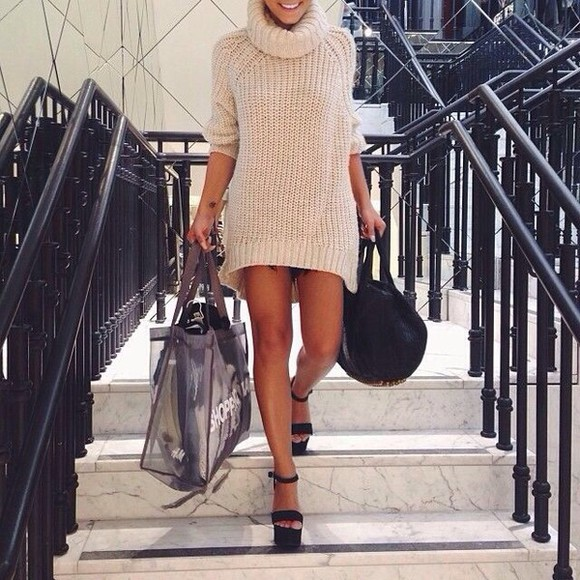 knit dress sweater dress cream knitwear cashmere turtleneck dresss