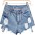 Jeansshorts mit zerrissenem Design, blau-Sheinside