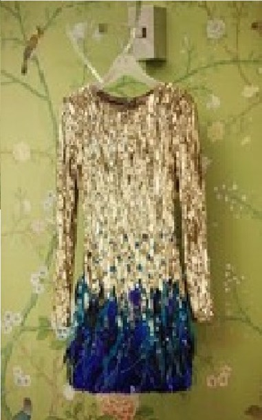 dress long sleeve dress gold blue feathers