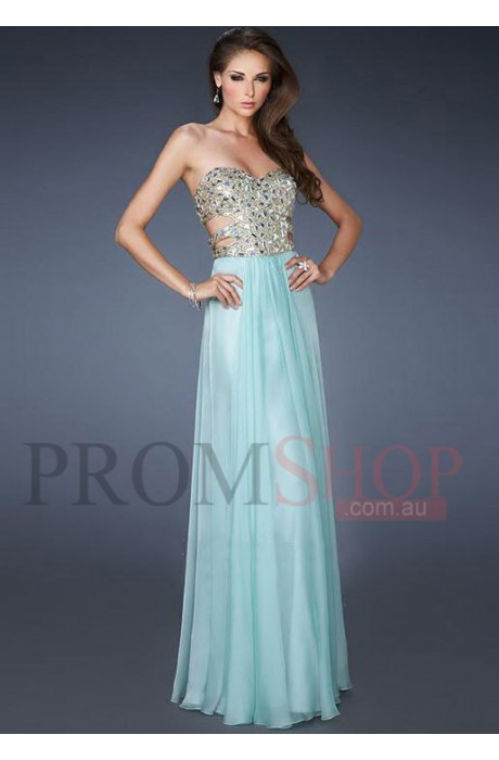 Natural Sleeveless Crystal Floor-length Evening Dresses au - Promshop.com.au