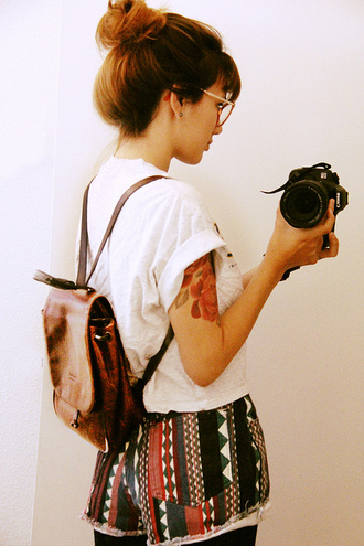 bag vintage retro camera hipster leather bag shorts brown backpack thin straps