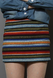 skirt,classic,aztec,embroidered,bud