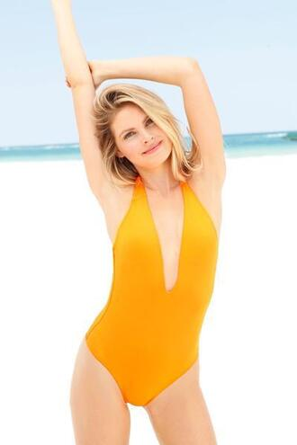 swimwear plunge v neck one piece orange peixoto padded cups bikiniluxe