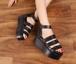 Sexy Rivet Women's Chunky Platform Platform Peep Toe Buckle Strap Sandals Shoes | eBay
