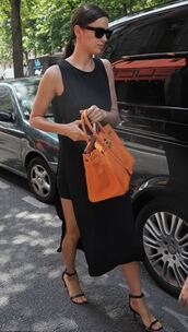 dress,slit dress,black dress,midi dress,irina shayk,sandals,summer dress,summer outfits,purse,bag