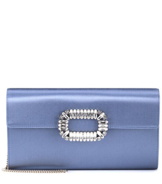 clutch satin blue bag