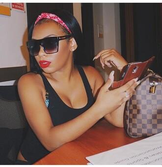 top black top black black sunglasses headband red lipstick red hair band mac lipstick aaliyah jay aaliyahjay sunglasses fashion style hat bag