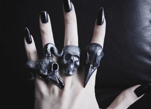 jewels skull accessory accessories cool plugs expandable ring black baphomet black nail polish nail polish goth wylona hayashi skull ring bird skull
