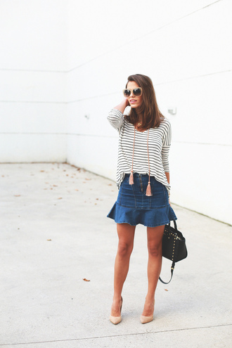 seams for a desire blogger denim skirt tassel striped top top skirt shoes bag sunglasses jewels