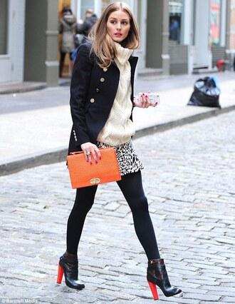 shoes white turtleneck sweater black coat orange purse black and white mini skirt black heeled boots blogger