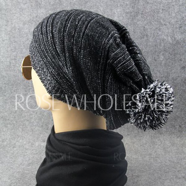 Stylish Woolen Yarn Ball Embellished Men and Women's Knitted Beanie