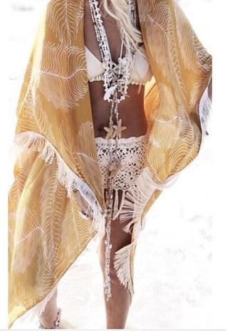 swimwear pareo boho chic yellow summer white bronze jewels caftan kimono fringe stars blonde hair sea sexy shorts crochet spring break cardigan