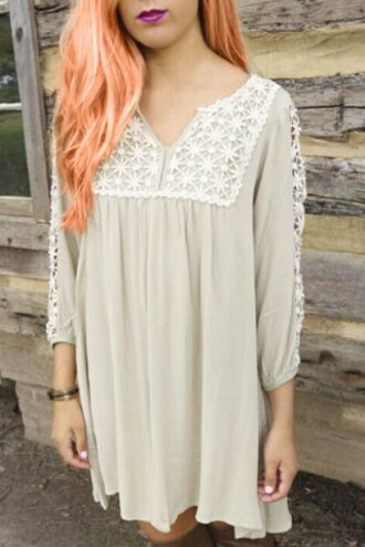 dress fashion style cute girly beige white nude fall outfits casual long sleeves lace embroidered stylish clothes
