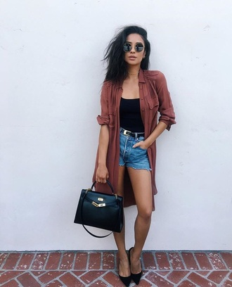 shirt orange shay mitchell coat jacket loose shorts denim sunglasses bodycon black top summer autumn shirt september outfit fall outfits instagram pumps