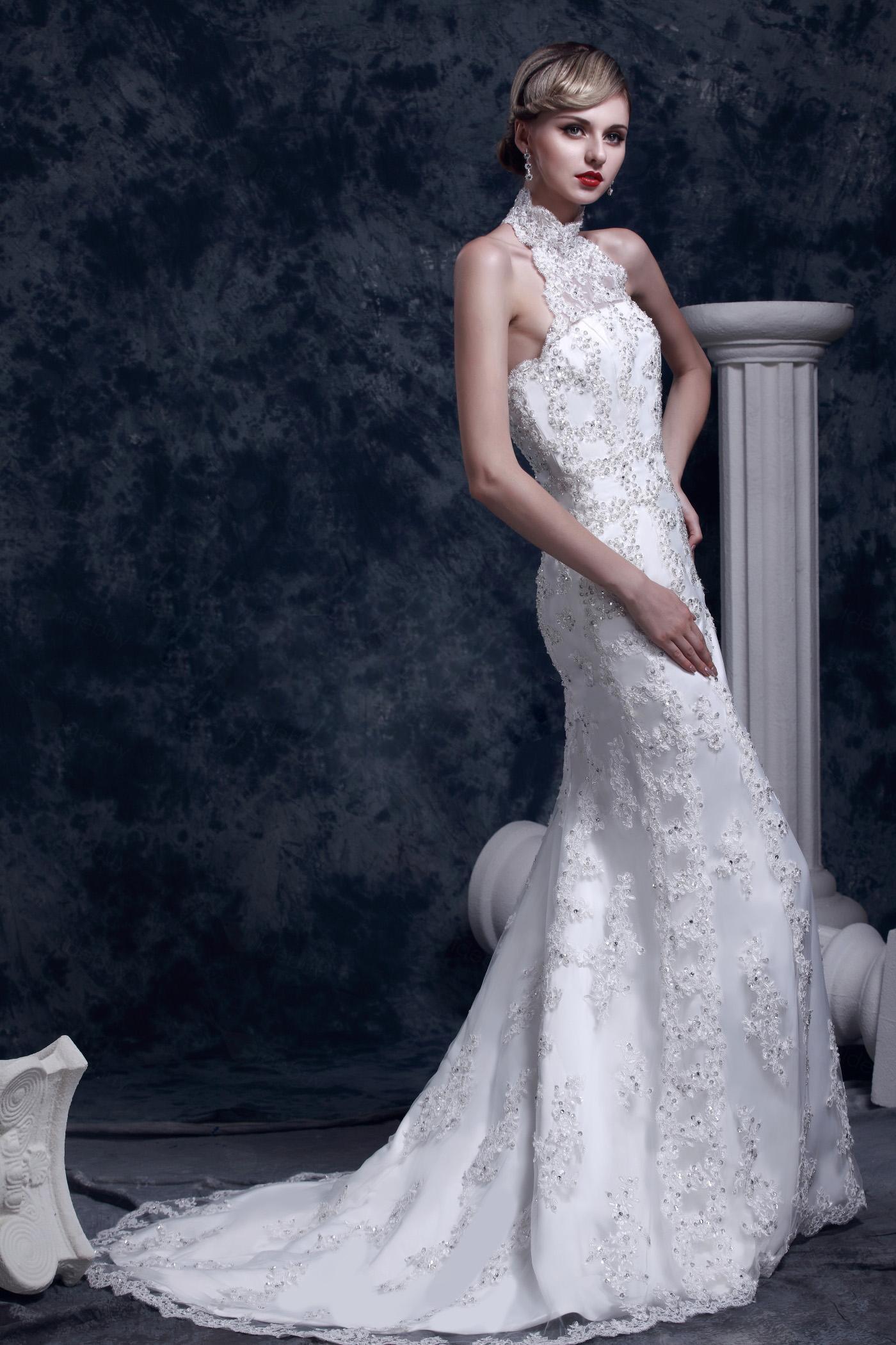 Brautkleid meerjungfrau neckholder