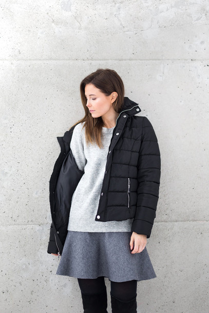 jacket tumblr black jacket puffer jacket quilted sweater grey sweater skirt mini skirt grey skirt tights opaque tights boots black boots over the knee boots winter outfits winter jacket