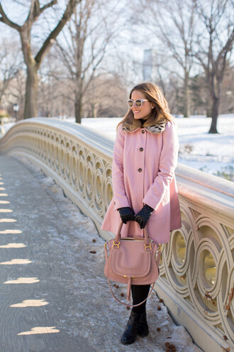 gal meets glam blogger pink coat pink bag girly winter outfits winter coat pink coat jeans shoes bag sunglasses gloves hat