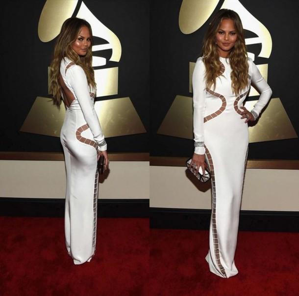dress bodycon dress chrissy teigen grammys 2015 gown