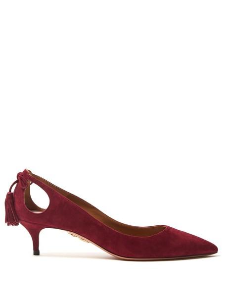 Aquazzura tassel forever pumps suede burgundy shoes