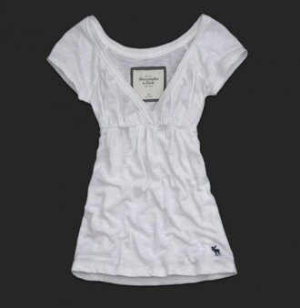 t-shirt a&f abercrombie & fitch fitch white top v neck elastic waist elastic waist plunge v neck short sleeve pretty clothes tunic cute