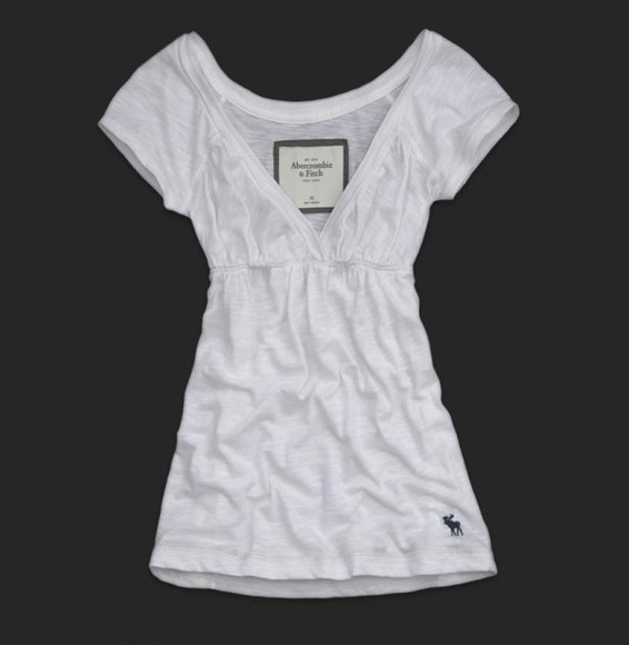 elastic t-shirt a&f abercrombie fitch white top tshirt v neck vneck waist elastic waist deep v neck short sleeves short sleeve pretty abercrombie&fitch clothes tunic cute