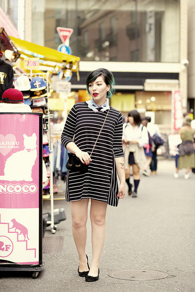 keiko lynn bag blogger stripes t-shirt collar velvet gothic lolita