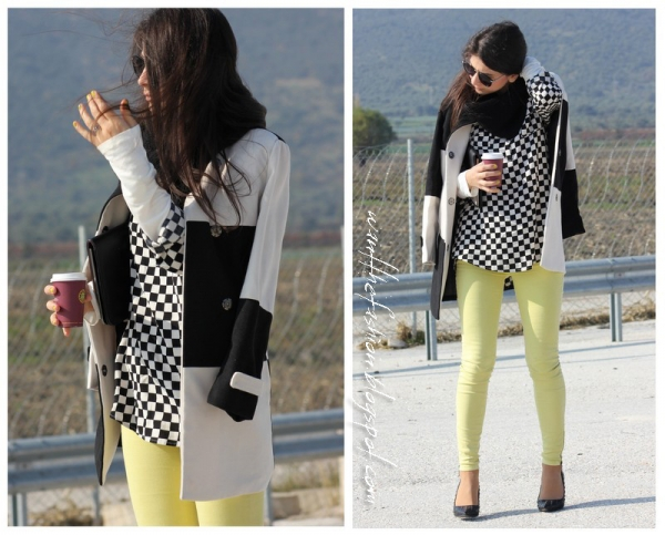 Classic Checkerboard Collarless Coat - OASAP.com