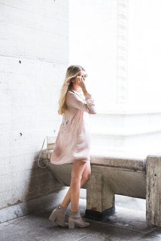 shirt embroidered satin shirt pink shirt satin shirt embroidered shirt dress boots flowy grey boots ankle boots sunglasses