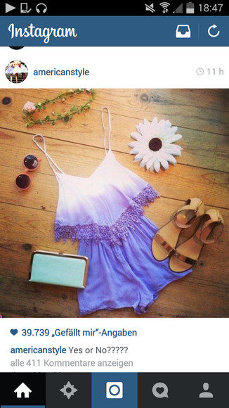 dip dyed romper jumpsuit purpel ombre bleach dye summer style