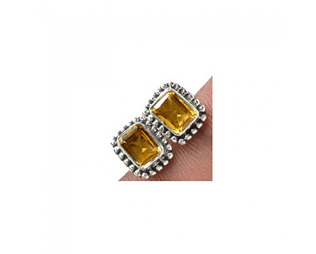 Amazing 925 sterling silver Gemstone Citrine Stud