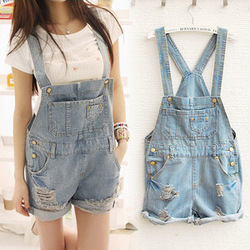 Online Shop Women Girl Washed Jeans Denim Casual Hole Jumpsuit Romper Overall Short QOK 1376|Aliexpress Mobile