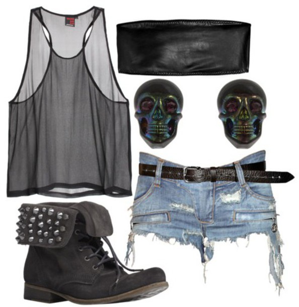 shorts tumblr outfit grunge see through vest top boots studs studded booties short shorts denim clutch earrings tank top jewels shoes