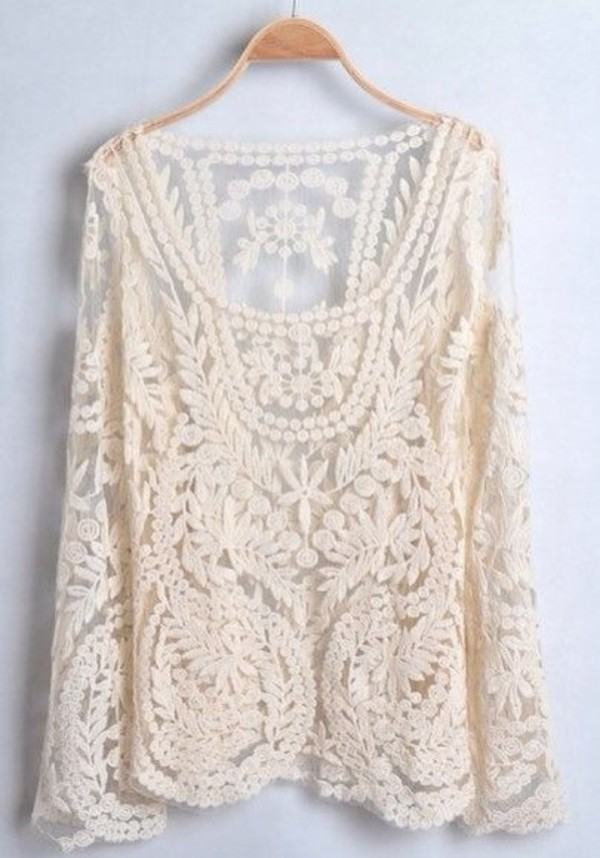 shirt lace sweater white