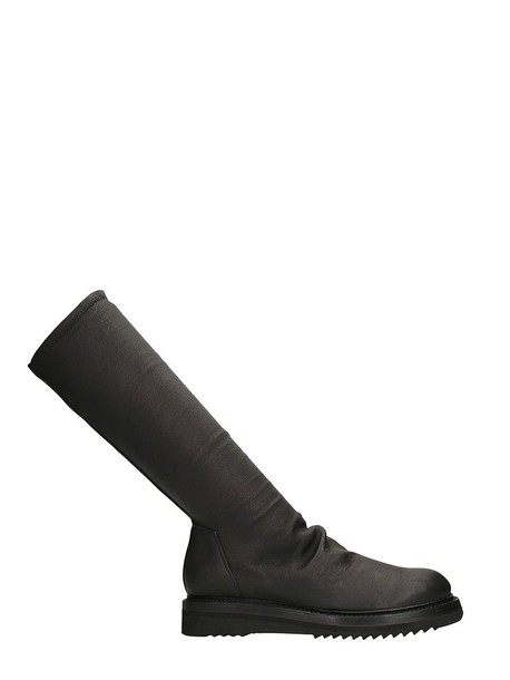 Rick Owens leather boots leather black shoes