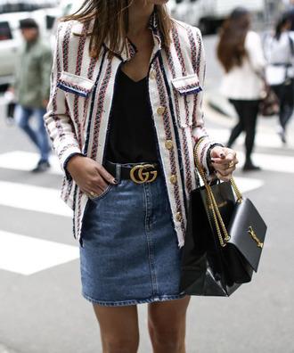 belt gucci belt tumblr gucci denim skirt mini skirt blue skirt top black top blazer striped jacket stripes bag black bag streetstyle ysl ysl bag jacket