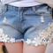Flower lace shorts jeans - juicy wardrobe