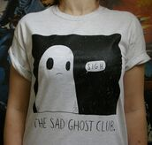 shirt,ghost,ghost shirt,sad,aesthetic