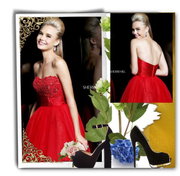 dress red dress sherri hill red prom dress homecoming dress homecoming dresses strapless sherri hill