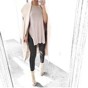 tank top,fashion,clothes,tunic,side slit,taliacupcake,side split,slit,leather pants,leather,leggings,taupe
