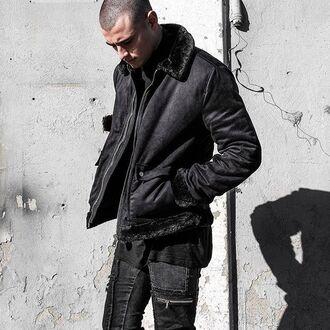 jacket maniere de voir fur trim suede harrington black coat collar fluffy pockets 36683